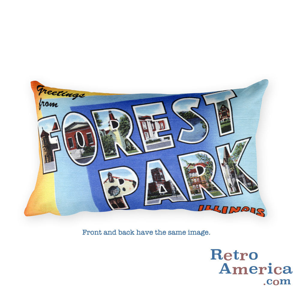 Greetings from Forest Park Illinois Throw Pillow
