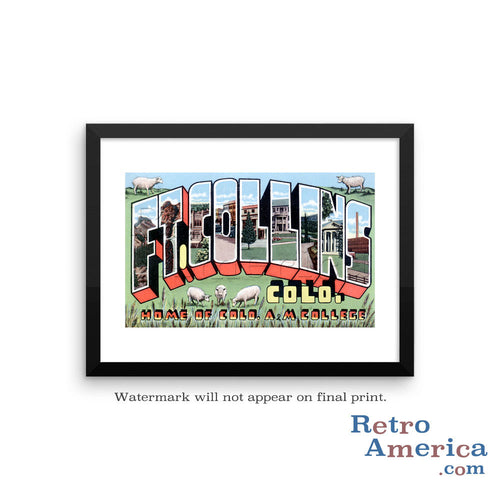 Greetings from Fort Collins Colorado CO Postcard Framed Wall Art