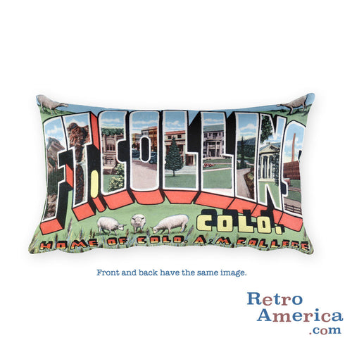 Greetings from Fort Collins Colorado Throw Pillow