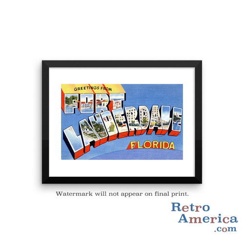 Greetings from Fort Lauderdale Florida FL 1 Postcard Framed Wall Art