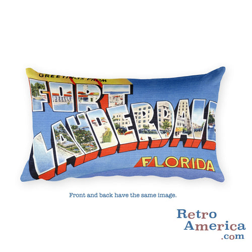 Greetings from Fort Lauderdale Florida Throw Pillow 1