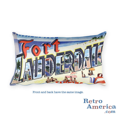 Greetings from Fort Lauderdale Florida Throw Pillow 2