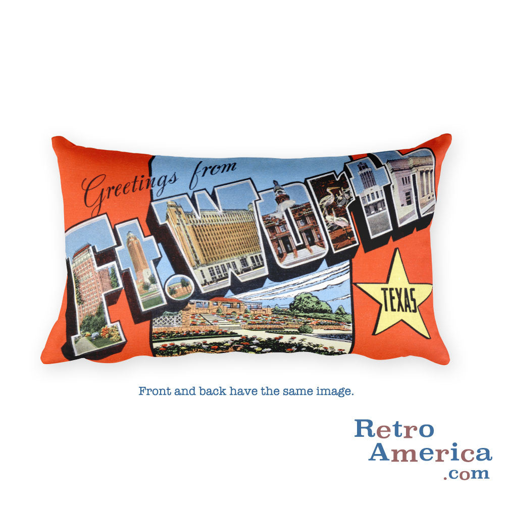Greetings from Fort Worth Texas Throw Pillow