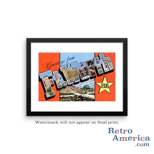 Greetings from Fort Worth Texas TX Postcard Framed Wall Art