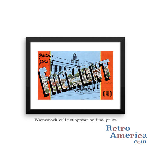 Greetings from Fremont Ohio OH Postcard Framed Wall Art