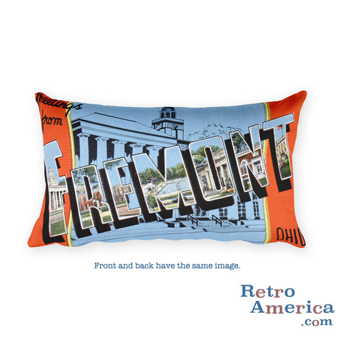 Greetings from Fremont Ohio Throw Pillow