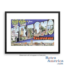 Greetings from Fresno California CA Postcard Framed Wall Art