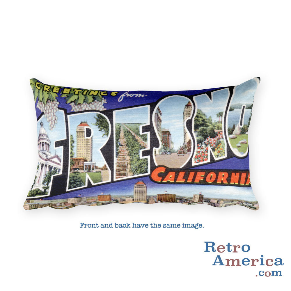 Greetings from Fresno California Throw Pillow