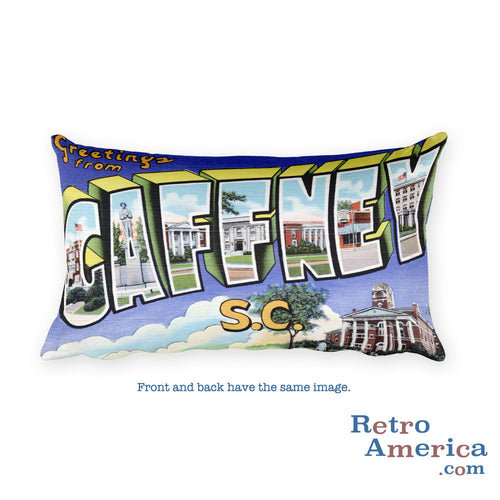 Greetings from Gaffney South Carolina Throw Pillow