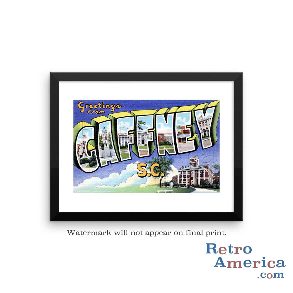 Greetings from Gaffney South Carolina SC Postcard Framed Wall Art