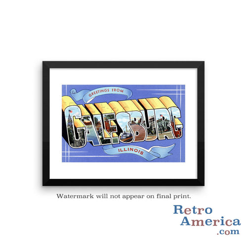 Greetings from Galesburg Illinois IL Postcard Framed Wall Art