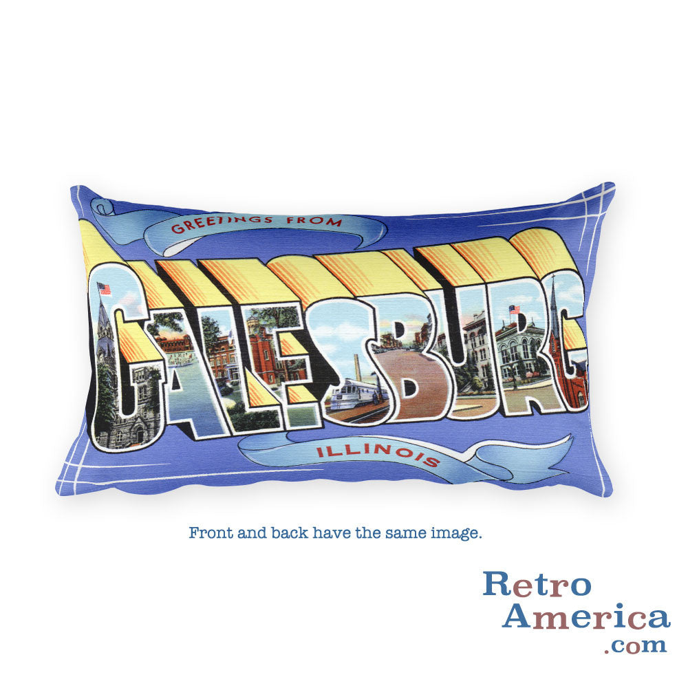 Greetings from Galesburg Illinois Throw Pillow