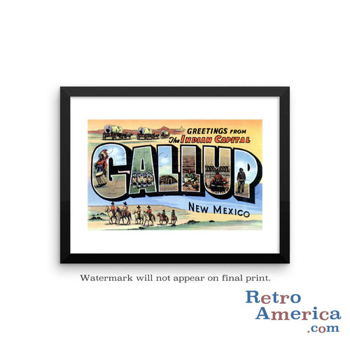 Greetings from Gallup New Mexico NM Postcard Framed Wall Art