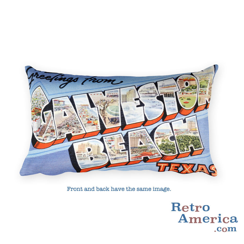 Greetings from Galveston Beach Texas Throw Pillow