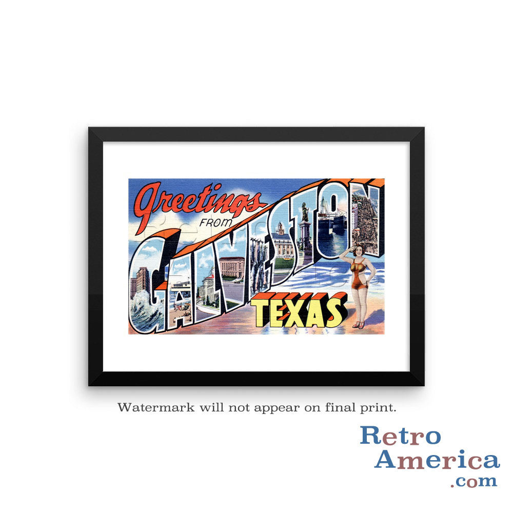 Greetings from Galveston Texas TX Postcard Framed Wall Art