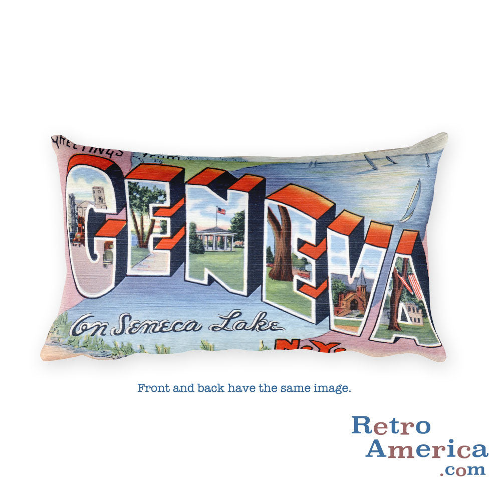 Greetings from Geneva New York Throw Pillow