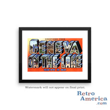 Greetings from Geneva On The Lake Ohio OH Postcard Framed Wall Art