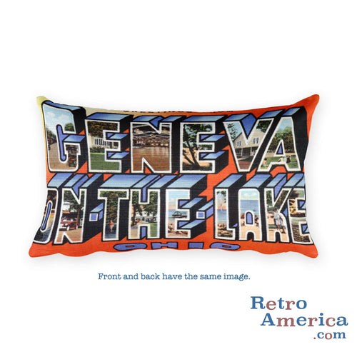 Greetings from Geneva On The Lake Ohio Throw Pillow