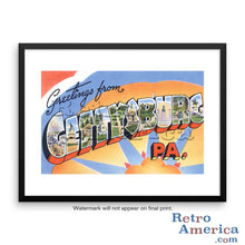 Greetings from Gettysburg Pennsylvania PA Postcard Framed Wall Art