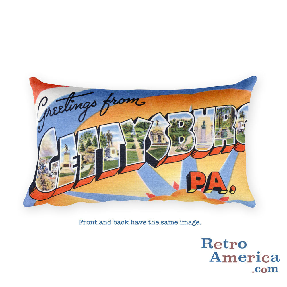 Greetings from Gettysburg Pennsylvania Throw Pillow