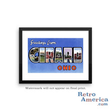Greetings from Girard Ohio OH Postcard Framed Wall Art