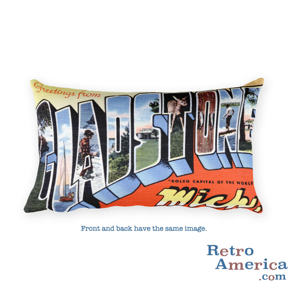 Greetings from Gladstone Michigan Throw Pillow