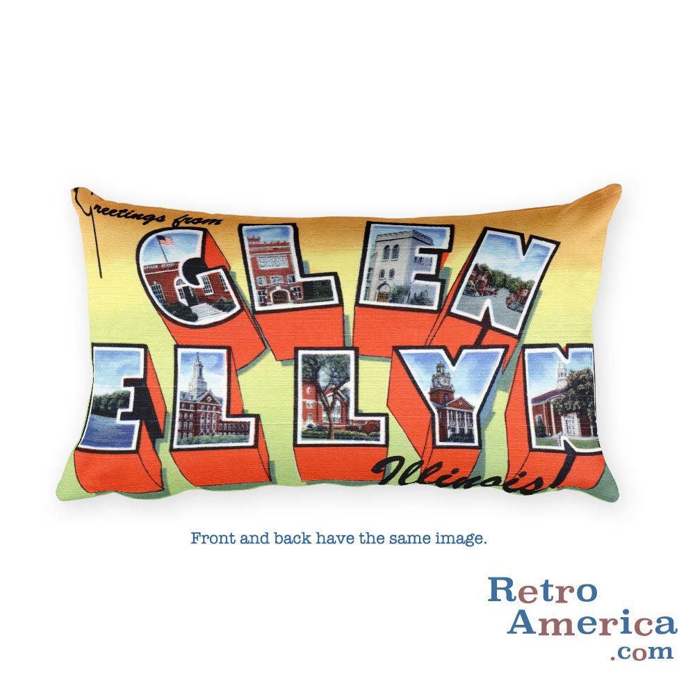 Greetings from Glen Ellyn Illinois Throw Pillow