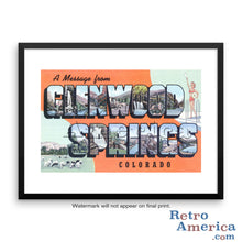 Greetings from Glenwood Springs Colorado CO Postcard Framed Wall Art
