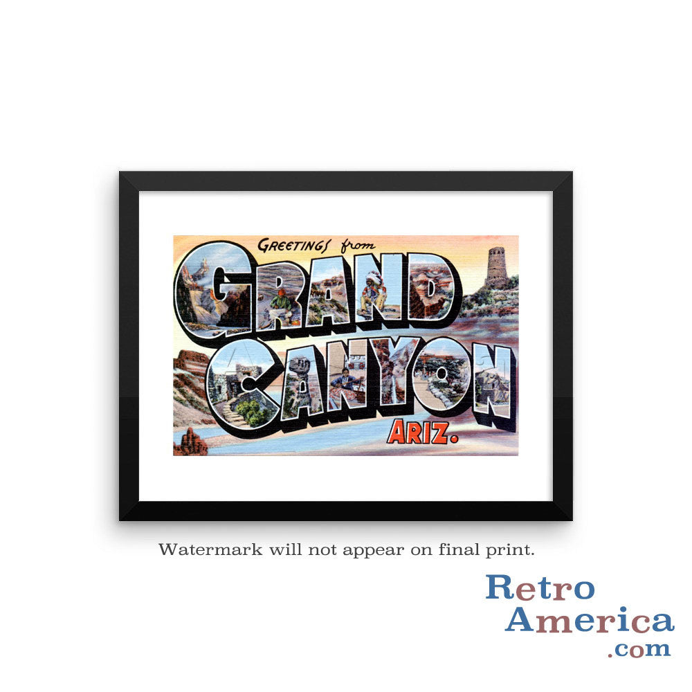 Greetings from Grand Canyon Arizona AZ Postcard Framed Wall Art