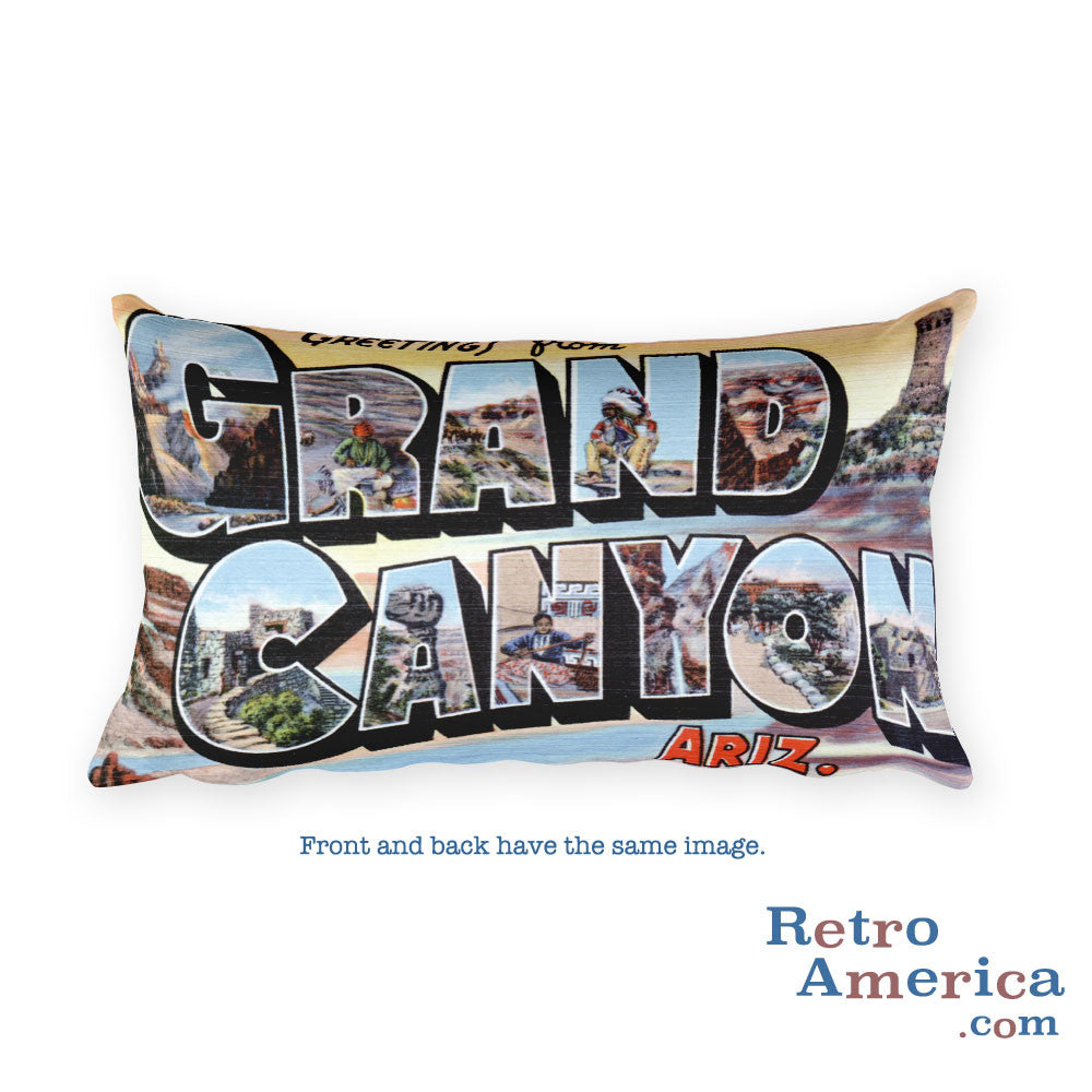Greetings from Grand Canyon Arizona Throw Pillow 1