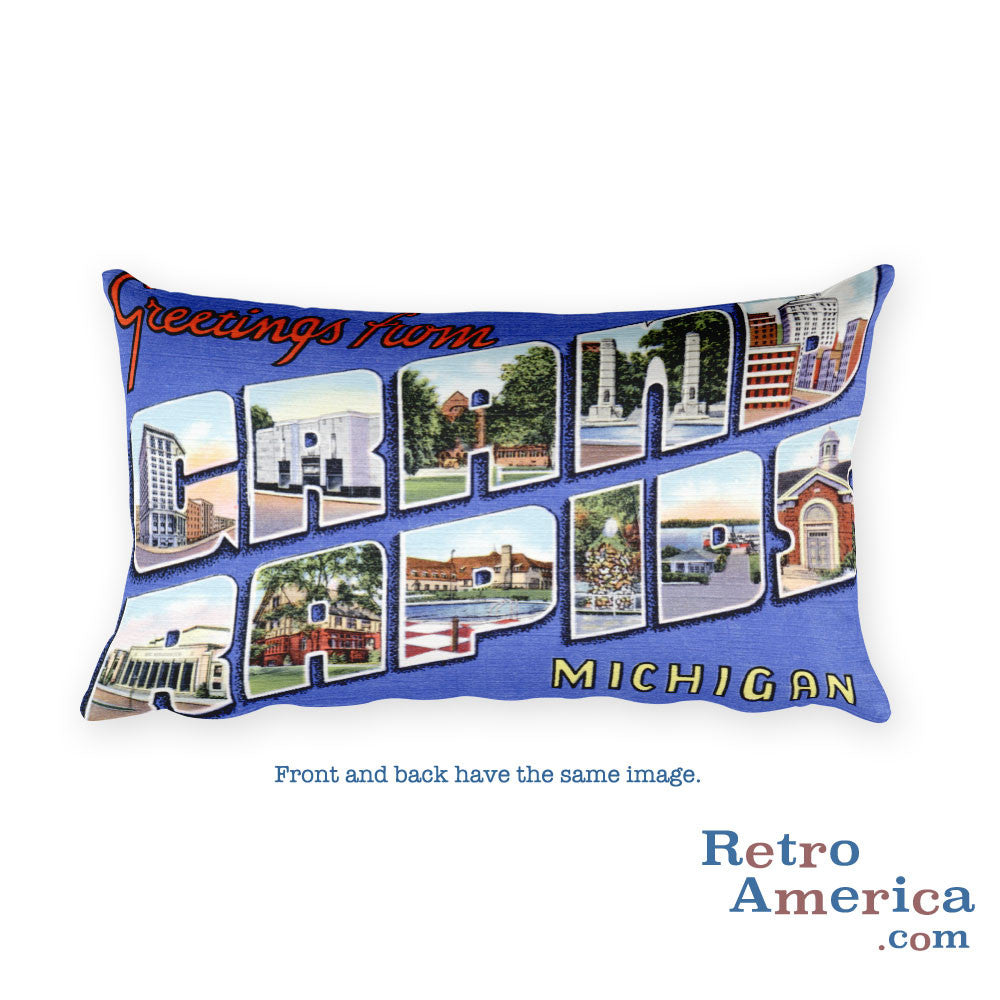 Greetings from Grand Rapids Michigan Throw Pillow