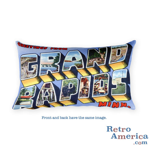 Greetings from Grand Rapids Minnesota Throw Pillow