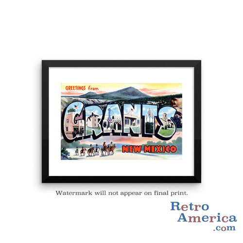 Greetings from Grants New Mexico NM Postcard Framed Wall Art