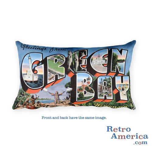 Greetings from Green Bay Wisconsin Throw Pillow