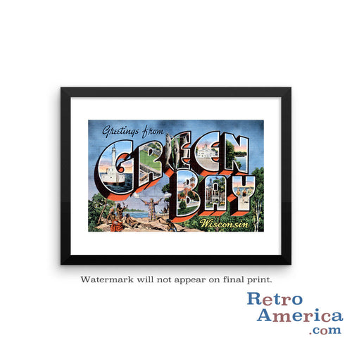 Greetings from Green Bay Wisconsin WI Postcard Framed Wall Art