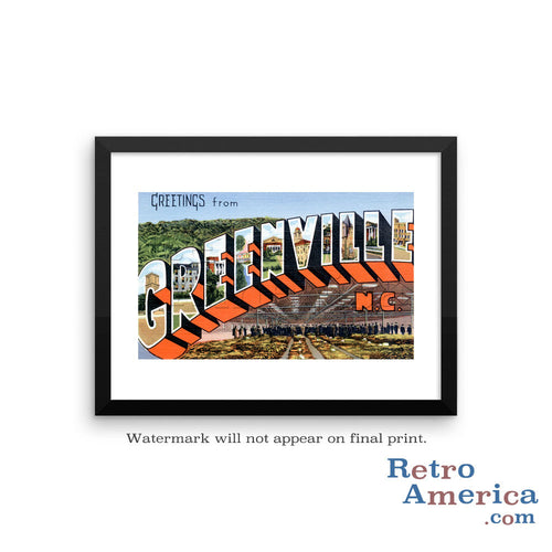 Greetings from Greenville North Carolina NC Postcard Framed Wall Art