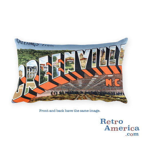 Greetings from Greenville North Carolina Throw Pillow