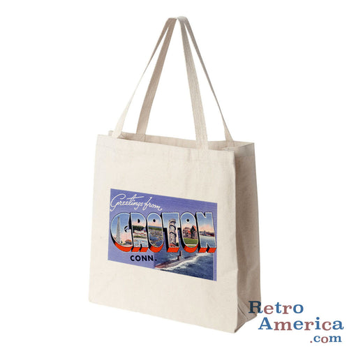 Greetings from Groton Connecticut CT Postcard Tote Bag