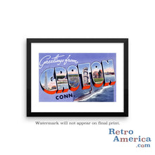 Greetings from Groton Connecticut CT Postcard Framed Wall Art