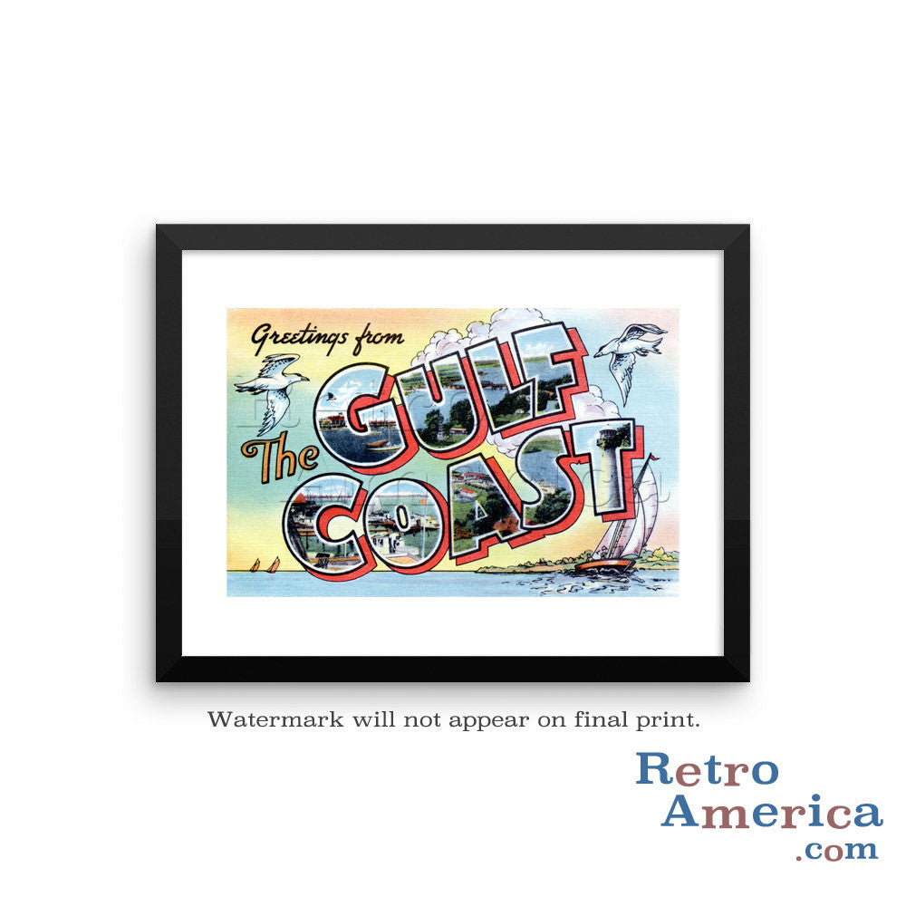 Greetings from Gulf Coast Gulf Coast Postcard Framed Wall Art