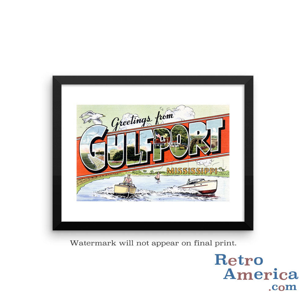 Greetings from Gulfport Mississippi Ms Postcard Framed Wall Art