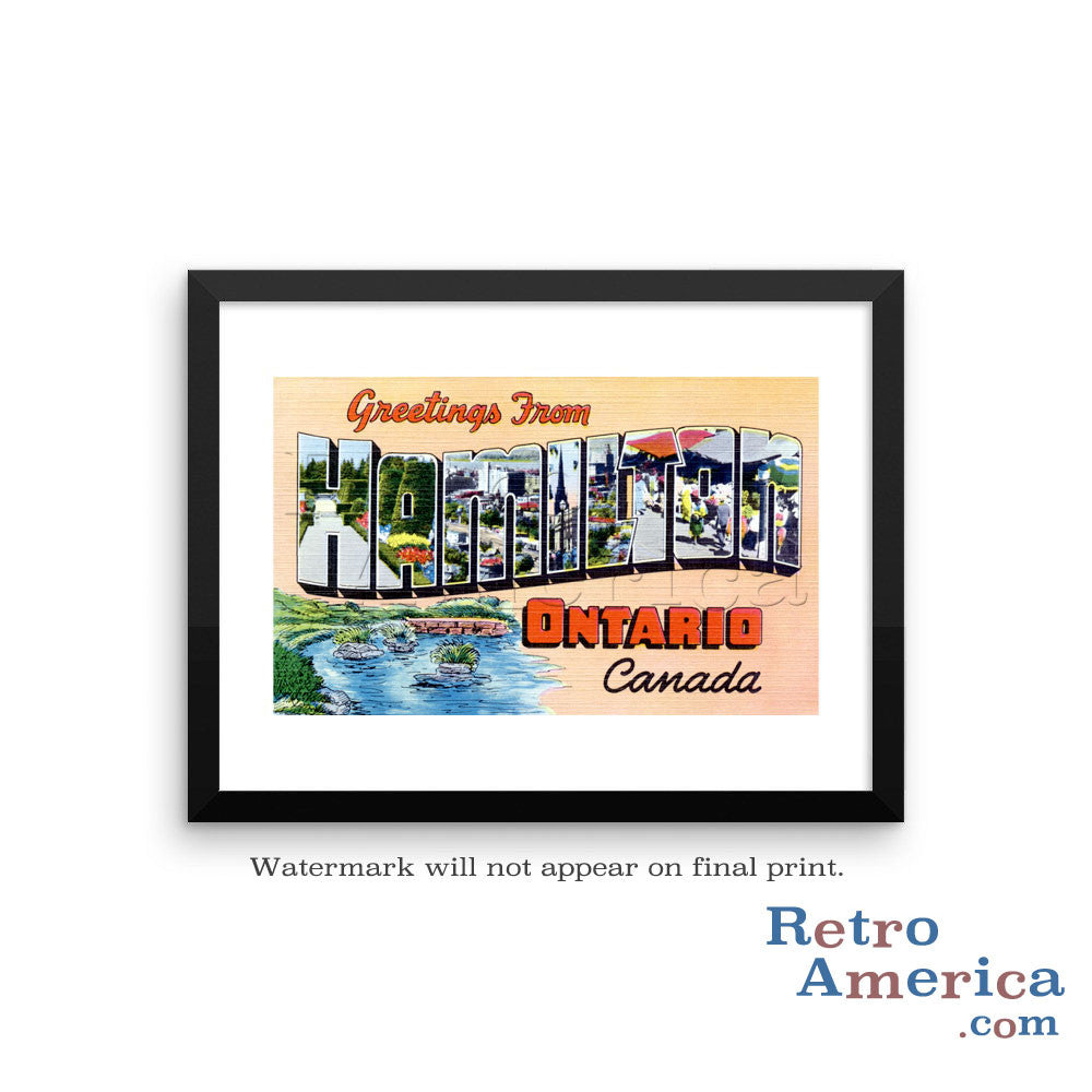 Greetings from Hamilton Ontario Canada Canada Postcard Framed Wall Art
