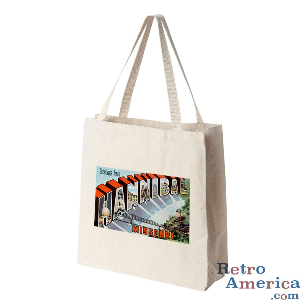 Greetings from Hannibal Missouri MO Postcard Tote Bag