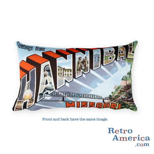 Greetings from Hannibal Missouri Throw Pillow