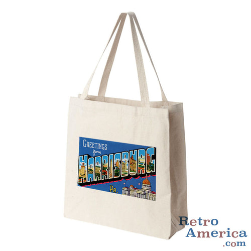 Greetings from Harrisburg Pennsylvania PA Postcard Tote Bag