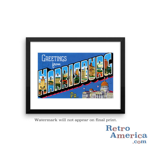Greetings from Harrisburg Pennsylvania PA Postcard Framed Wall Art