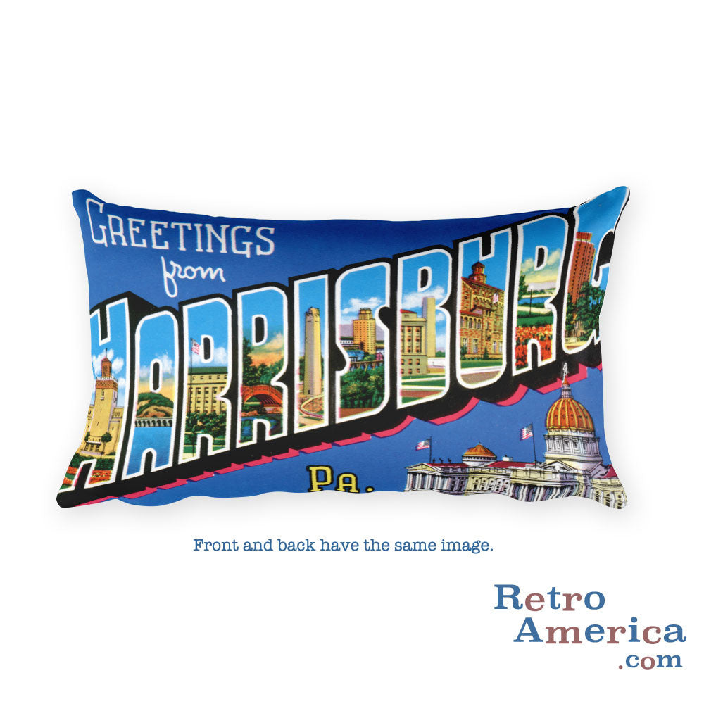 Greetings from Harrisburg Pennsylvania Throw Pillow