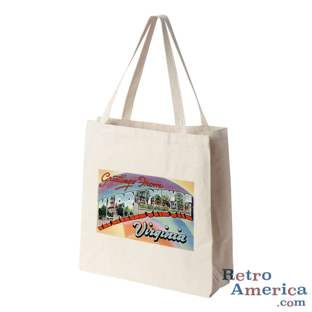 Greetings from Harrisonburg Virginia VA Postcard Tote Bag