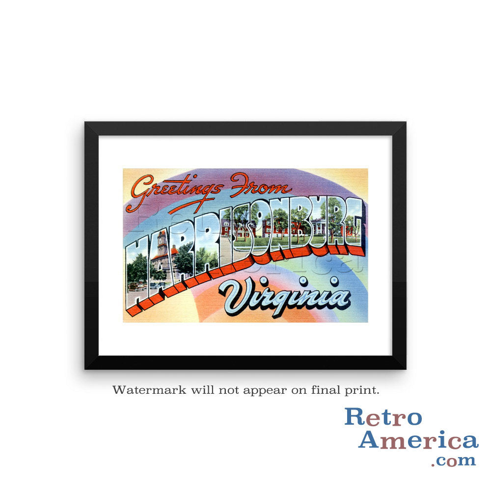 Greetings from Harrisonburg Virginia VA Postcard Framed Wall Art