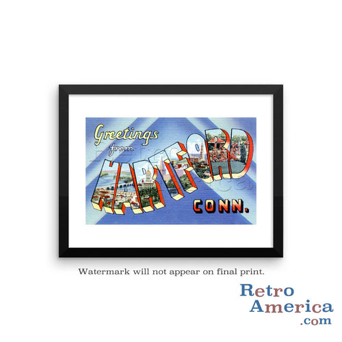Greetings from Hartford Connecticut CT 2 Postcard Framed Wall Art